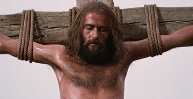 Jesus, played by Brian Deacon, crucified on a cross in The Jesus Film of 1979