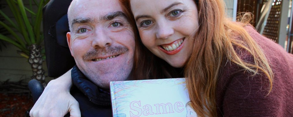 Katrina Roe, her brother Charlie and the book, 'Same'