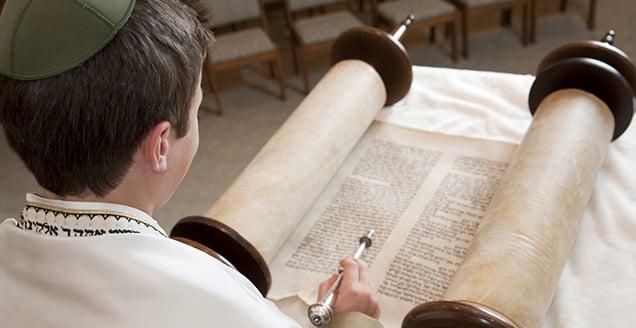 Jewish boy reads the Torah