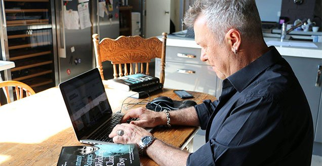 Jimmy Barnes at work on his book 'Working Class Boy'