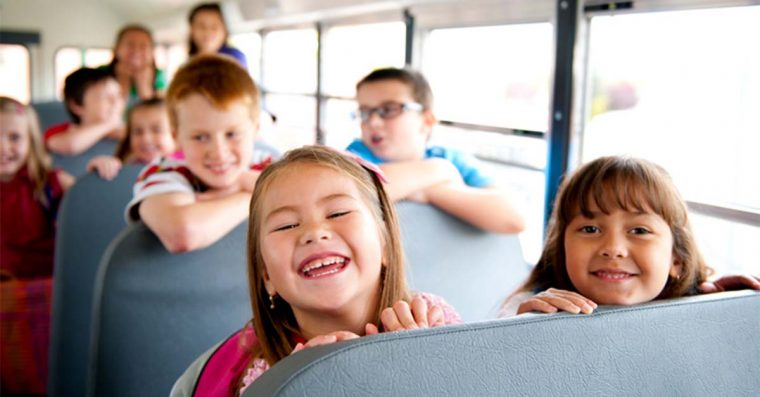 Kids on a school bus.