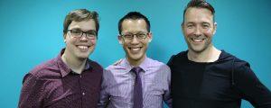 Eddie Woo with Sam Robinson and Duncan Robinson