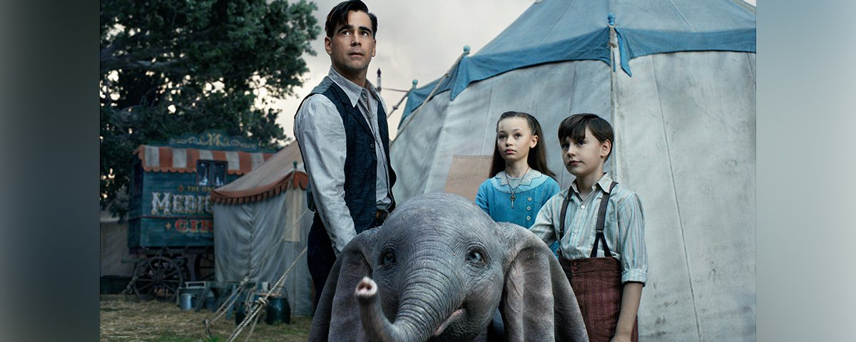 Holt (Colin Farrell), Milly (Nico Parker) and Joe (Finley Hobbins) in Dumbo
