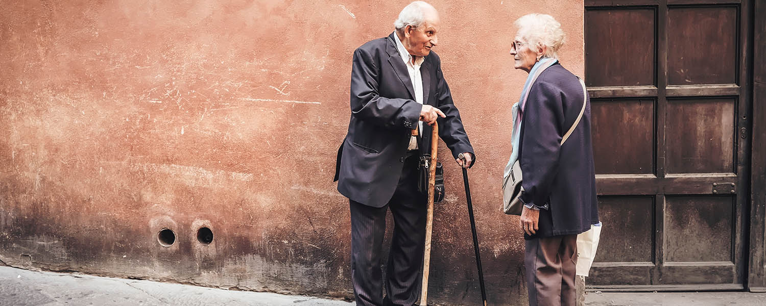 Two old folks talking -