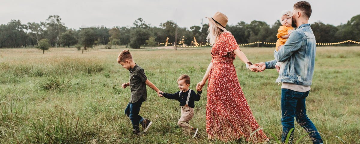 Family walking outdoors -