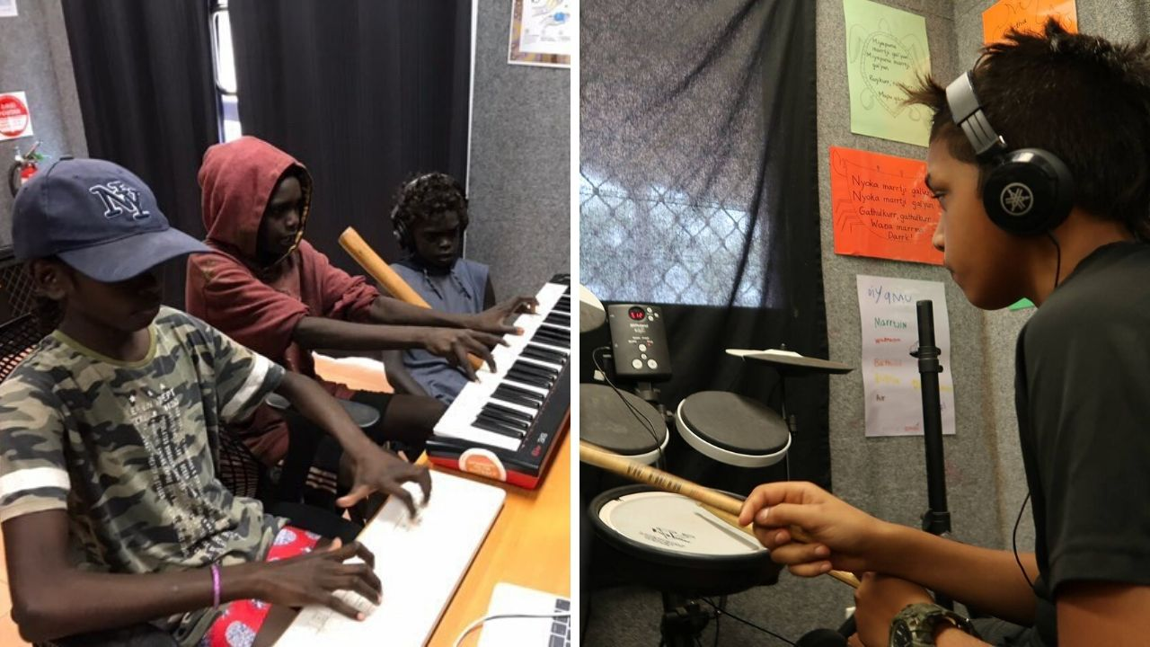 Students participate in the Instruments for the Outback program in remote Northern Territory