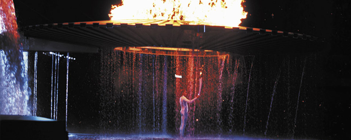 Cathy Freeman lights 2000 Sydney Olympics torch at the Opening Ceremony