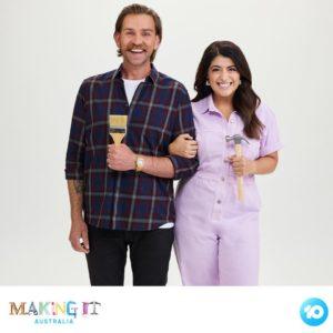 Australian comedian Susie Youssef and Harley Breen for Channel Ten's 10 'Making It Australia' DIY show