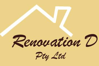 Renovation D written in brown cursive text on yellow background with white rooftop
